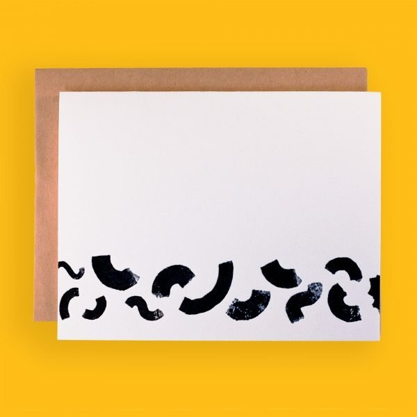picture of greeting card with black squiggle design